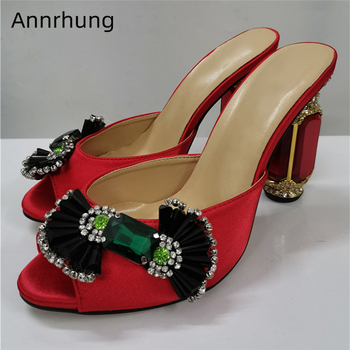 Sexy Candy Butterfly-knot High Heel Shoes Woman Luxury Satin Open Toes Jeweled Diamond Ruby Heel High Heel Slippers Women