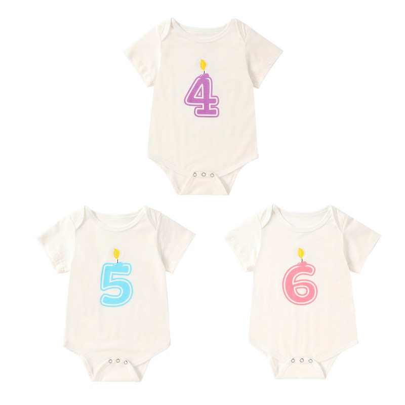 Toddler Newborn Baby Boys Girls Rompers Solid Color Digital Number 4 to 6 Print Short Sleeve Jumpsuit 0-18M