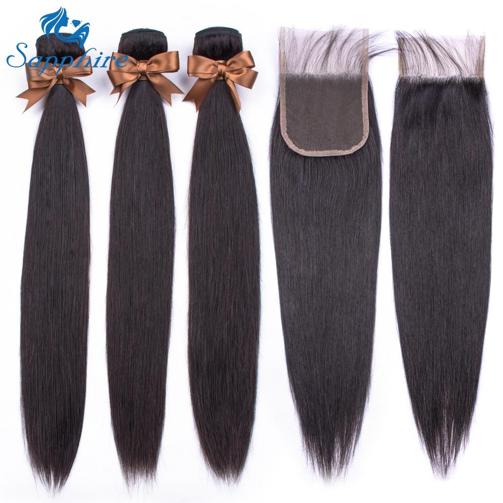 Sapphire Straight Hair Bundles With Closure Peruvian Hair 3pcs NonRemy Hair Extension Human Hair Bundles With Closure