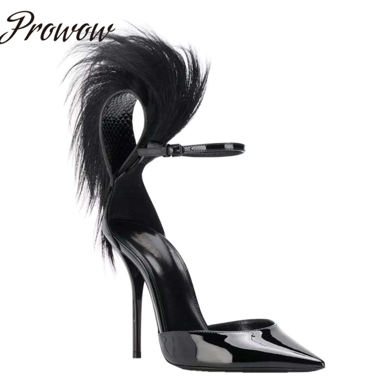Prowow New Black Sexy Pointed Toe HIgh Heel Pumps Spring Summer Party Feather Thin HIgh Heel Pumps Shoes Women - 2