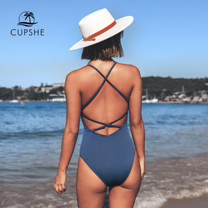 Image 3 - CUPSHE Remind Me Solid One piece Swimsuit Women Backless Deep V neck Lace Up Sexy Bodysuits 2020 Beach Bathing Suit Swimwear