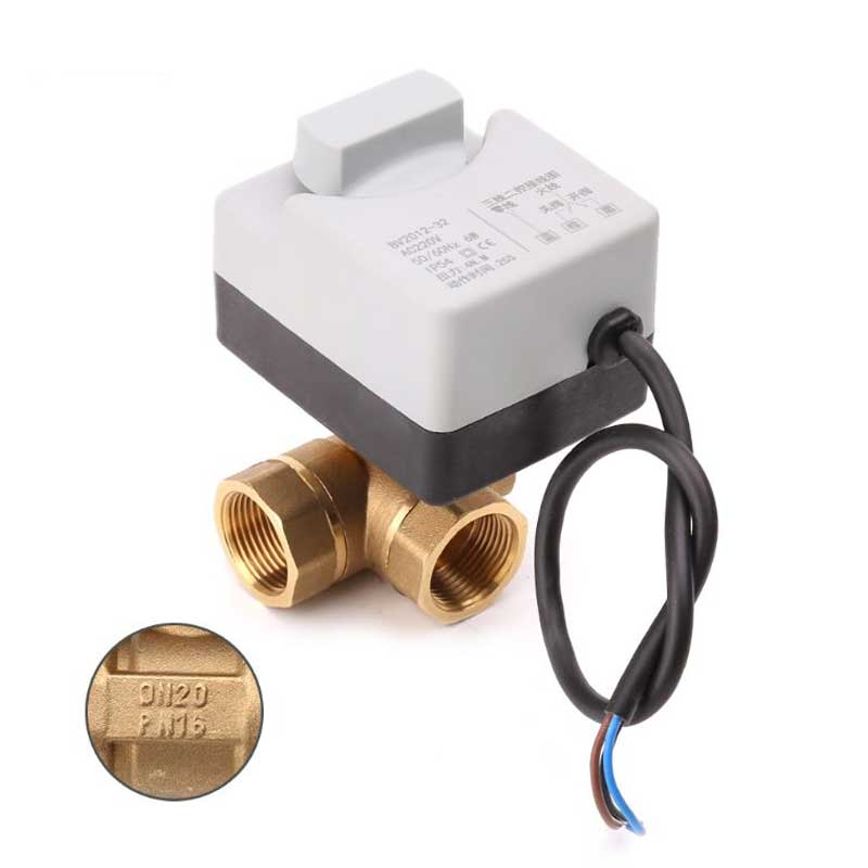 AC220V 3-way Electric Motorized Ball Valve Three Wires Two Controls For Air Conditioning