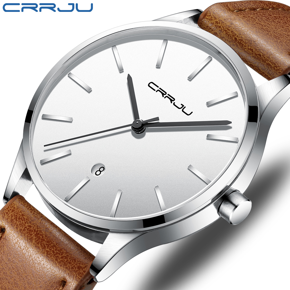CRRJU Men's Fashion Quartz Watches with Leather Strap Waterproof Watch, Auto Date, Color Black, Brown