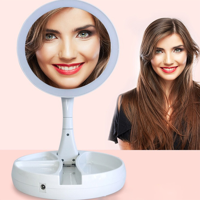 LED Lighted Folding Makeup Double-sided Mirror Magnifying Mirror With Lights Vanity Table Stand Portable Mirrors 1X-10X
