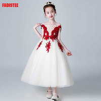 New Arrival Pretty Flower Girl Dresses appliques beading Baby Girl Dress lace burgundy long style dresses