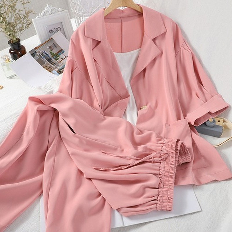3 Piece Outfits For Women 3/4 Sleeve Blouse Coat + Basic Solid Sling Vest + Drawstring Waist Wide Leg Ankle Pants