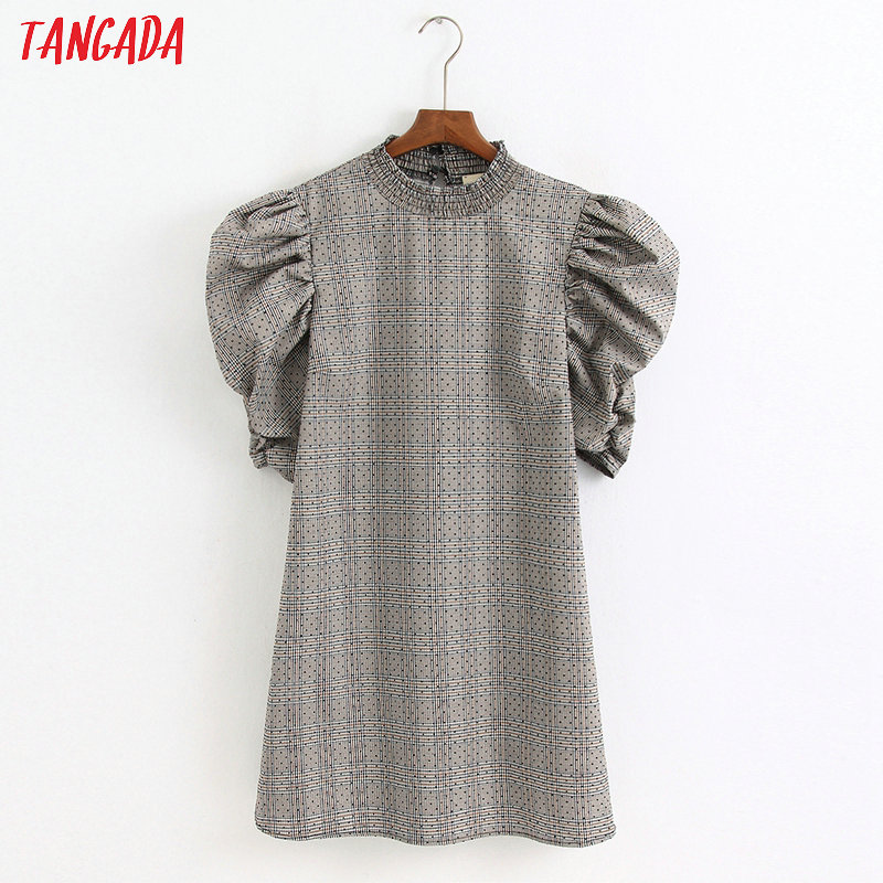 Tangada Fashion Women Plaid Print Dress Ruffles Neck Pleated Short Sleeve Ladies Vintage Mini Dress Vestidos 6Z26