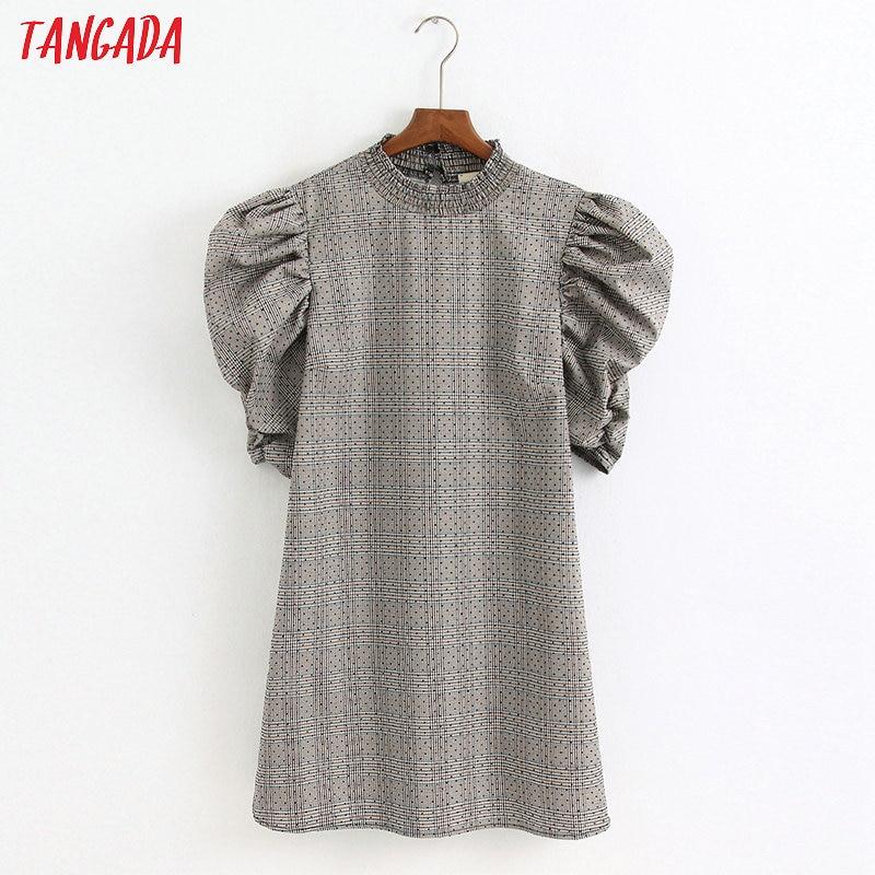 Tangada Fashion Women Plaid Print Dress Ruffles Neck Pleated Short Sleeve Ladies Vintage Mini Dress Vestidos 6Z26