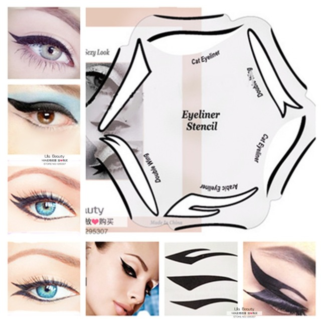 6 Style in  1 Makeup Cat Fish Tail Double Wing Eyeliner Stencil Kit Model for Eyebrows Template Fard a Paupiere Card
