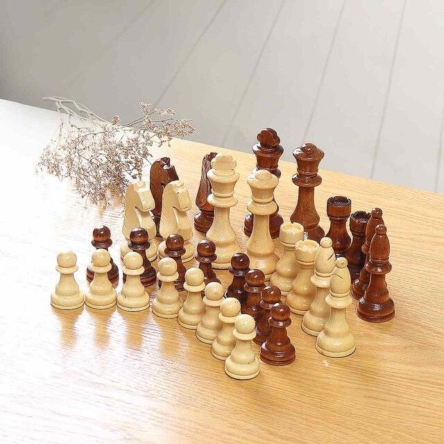 32 pièces, en bois, hauteur roi 105mm, jeu d'échecs de haute qualité 2