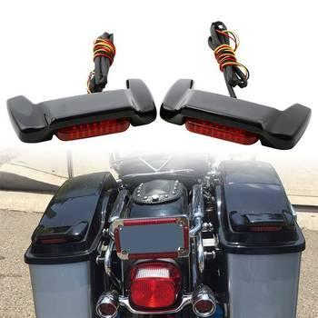 Motorcycle Hard Saddlebag Lid LED Spoiler Kit For Harley Touring Electra Street Road Glide Road King 1993-2013 2014-2020