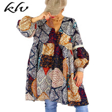 Womens V Neck Vintage Colorful Print Tunic Loose A-Line Long Puff Sleeve Ethnic Dress