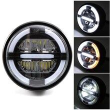 """7 """"LED motosiklet cafe racer far DRL dönüş sinyal ışığı için Harley Touring yol kral Ultra klasik Electra sokak Glide"""