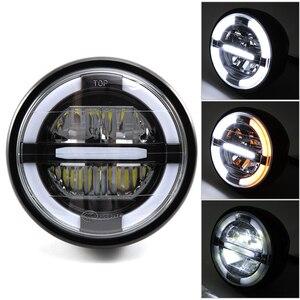 """Image 1 - 7 """"LED motosiklet cafe racer far DRL dönüş sinyal ışığı için Harley Touring yol kral Ultra klasik Electra sokak Glide"""