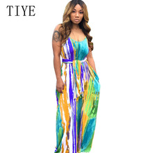 TIYE Sleeveless Sexy Spaghetti Strap Summer Beach Vintage Maxi Dress Boho Casual O Neck Tie Dyeing Printed Loose Long Sundress