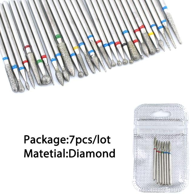 6/7 Diamond Nail Drill Bits Set Cutters Manicure Silicon Ceramic Stone Electric Milling Cutter for Pedicure Manicure Machine 4