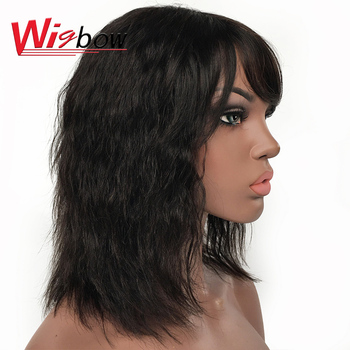 Natural Wave Human Hair Wigs For Women Indian Hair Wig With Bangs 150 Density Human Hair Fringer Wig Natural Hair Human Hair Wig