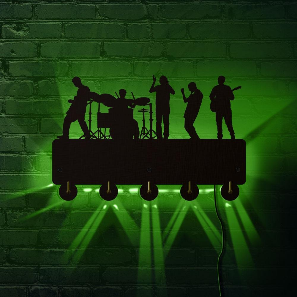 Band Time Rock Group Household Decor LED Hooks Guitar Singer Rock Music Design Color Changing Lighting Wall Coat Key Holder