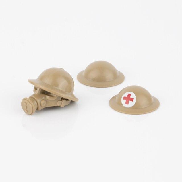 WW2 военные строительные блоки, противогаз, армия, британский солдат, шлемы, медицинские аксессуары, детали, кирпичи WW1, детская игрушка