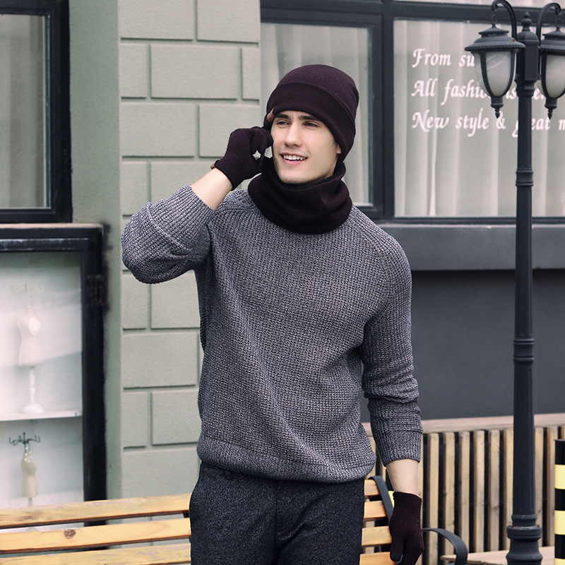 Knitted Wool Hat, Scarf, Gloves, Three-piece Suit, Winter Warm Suit