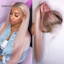 Human-Hair-Wig Baby Hair Preferred Transparent Lace Pink Wigs For Purple Straight Women