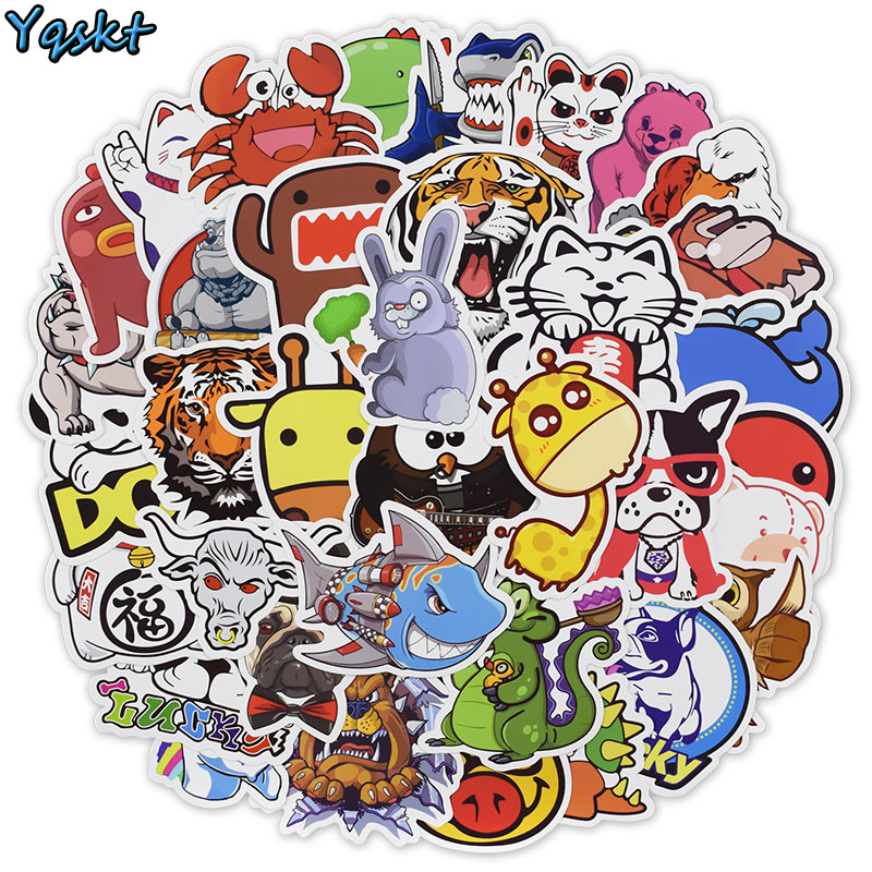 50 PCS Animal Cartoon Stickers For Laptop Skateboard Motorcycle Luggage Bicycle Home Decor Decals PVC Waterproof Sticker
