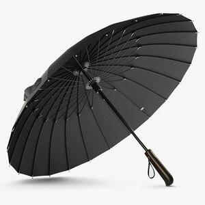 Image 5 - OLYCAT parapluie droit Long avec poignée en bois, résistant au vent, de marque de verre pour femmes et hommes, 24K