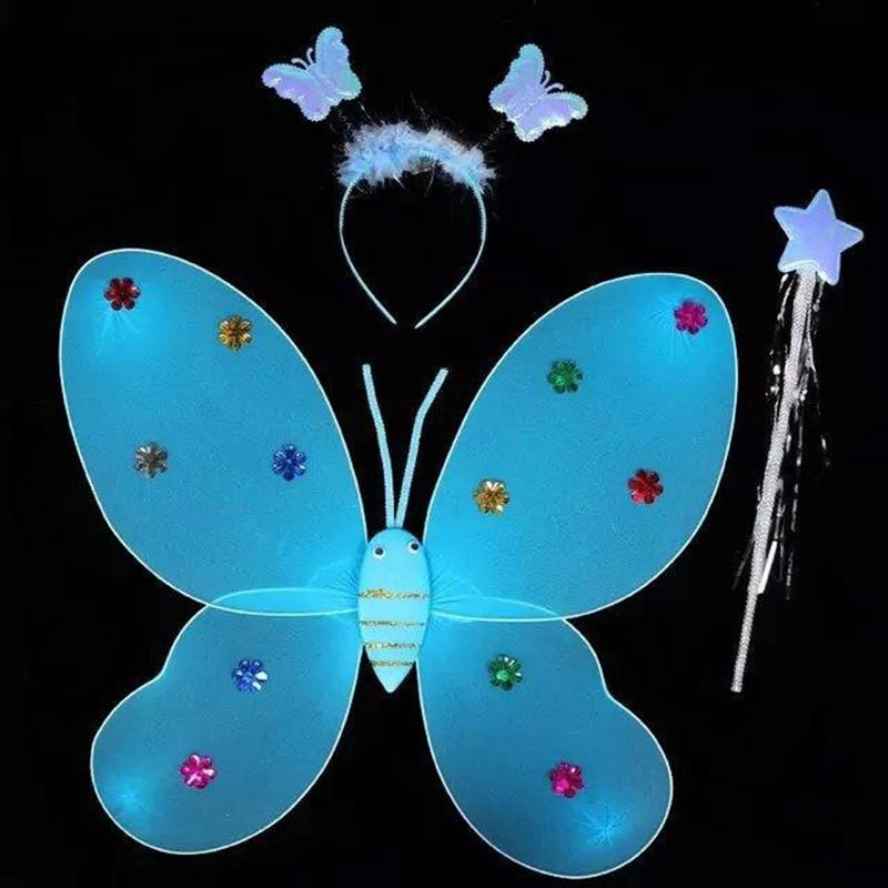 Kuulee Butterfly Fairy Angel Wings Costumes Tool Set Of 3 Children Toy Plastics
