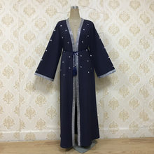Middle East Arab Muslim Open Abaya Dress Women Dubai Loose Open Long Robe Lace-up Outwear Diamond UAE Islamic Clothing Plus Size(China)