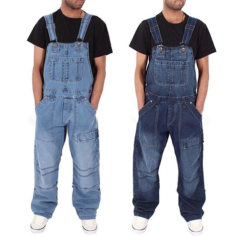 Pants Streetwear Mens 2019 New Fashion Jeans Wash Overall Jumpsuit Streetwear Pocket Pants Trousers Pantalones Hombre 10H