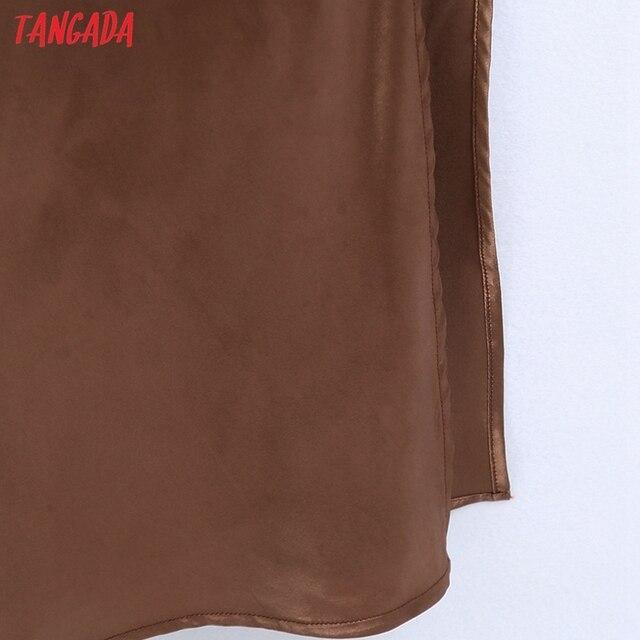 Tangada Fashion Satin Halter Dresses for Women 2021 Back Bow Female Long Dress CE216 5