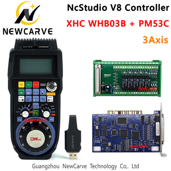 Nc Studio V8 Controller Kit PM53C Breakout Board Control Card + XHC WHB03B Wireless MPG 3 Axis WEIHONG Controller NEWCARVE