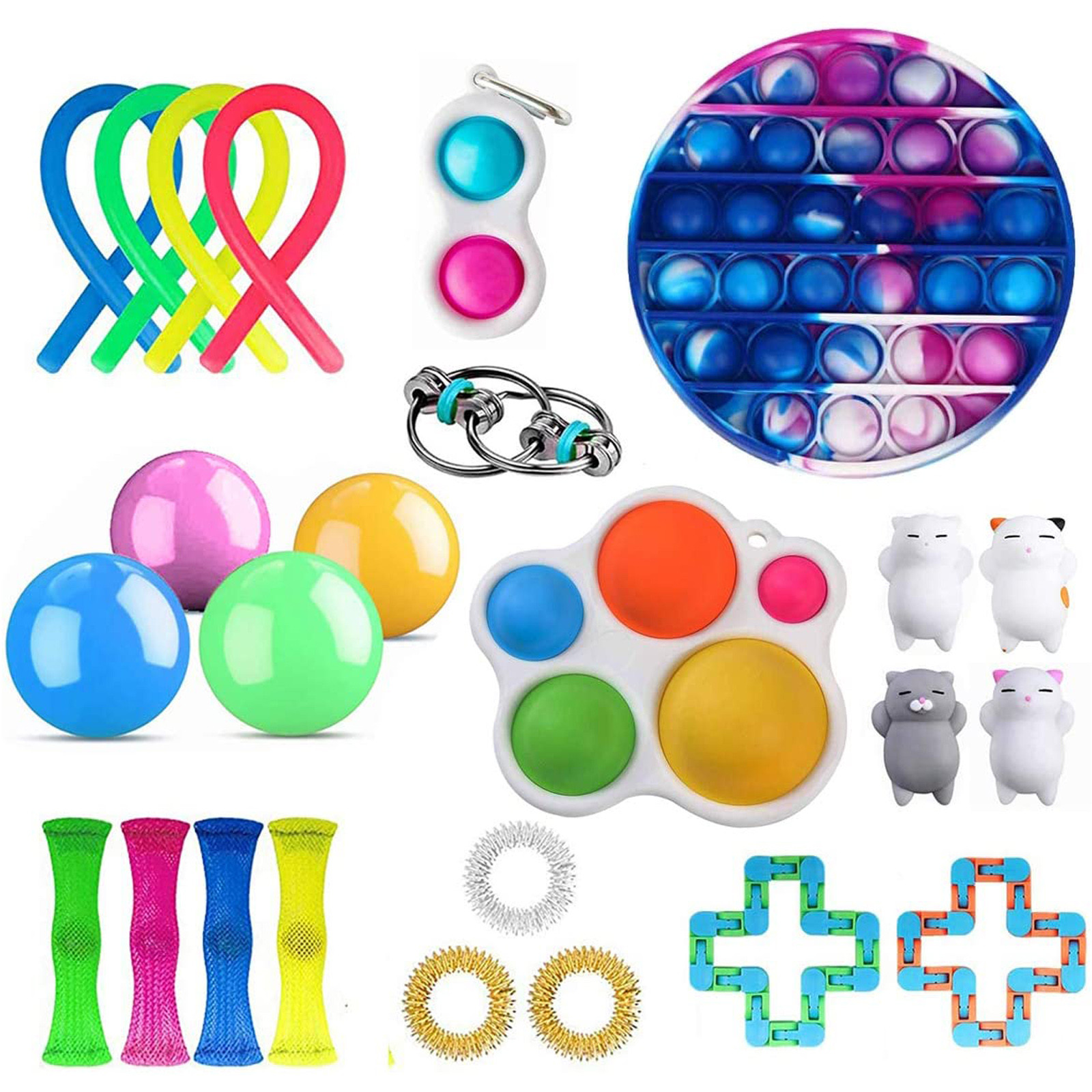 Fidget-Toys Anti-Stress-Set Sensory Gift-Pack Strings Relief Squishy Adults Kids Stretchy