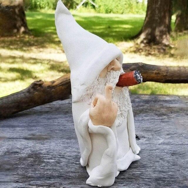 Funny Smoking Dwarf Garden Sculpture Ornaments Scornful Wizard Gnome Statue Indoor Outdoor Figurine for Home Yard Decoration 3