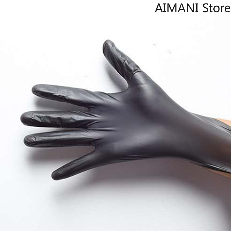 Disposable Protective <font><b>Gloves</b></font> PVC <font><b>Black</b></font> 100 Pieces Thickened Powder-free Housework Labor Insurance Food Beauty Plastic <font><b>Gloves</b></font> image