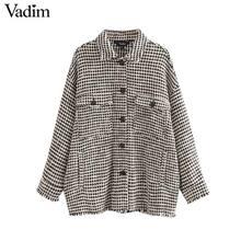 Vadim ผู้หญิงลายสก๊อตขนาดใหญ่ Tweed แจ็คเก็ต Tassels กระเป๋าสไตล์หลวมเสื้อแขนยาวหญิง outwear WARM causal CA607