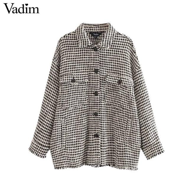 Vadim נשים גדול משובץ טוויד מעיל גדילים כיסי loose סגנון ארוך שרוול מעילי נקבה להאריך ימים יותר חם סיבתי חולצות CA607