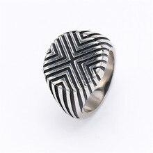 Vintage Titanium Steel Line Men Rings for Motorcycle Party Steampunk Biker Metal Cool Finger Rings Geometry Jewelry Gifts