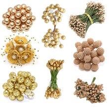5/6/10/20/24/30/40/50 pçs ouro artificial flores cereja stamen bagas bouquet para diy casamento presente caixa de bolo grinaldas decoração