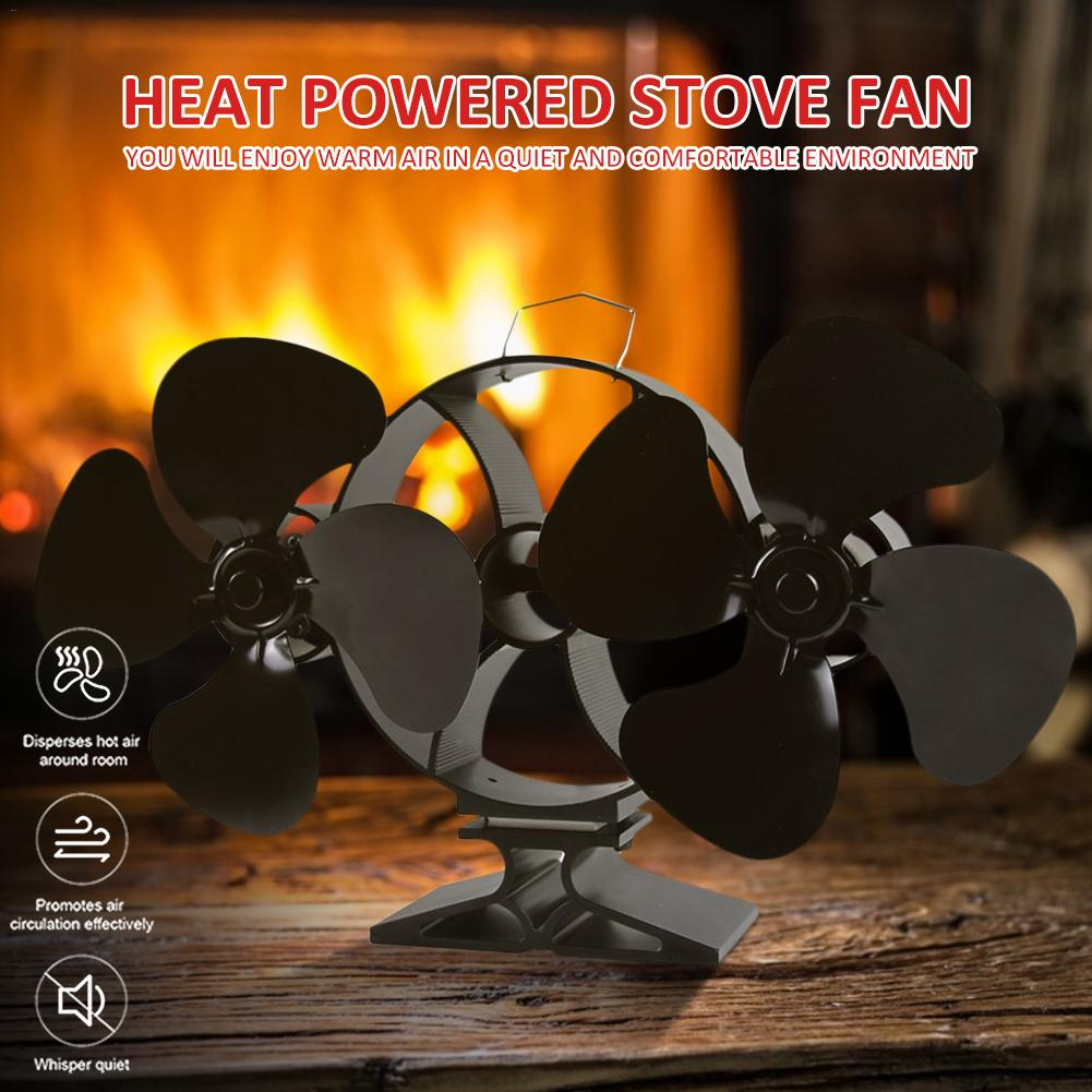 Heat Powered Stove Fan  Double Head Energy Saving High Temperature Resistant Fireplace Fan With Large Air Volume