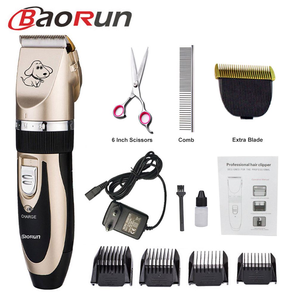 Baorun Professional Pet Dog Hair Trimmer Animal Grooming Clippers Cat Cutter Machine Shaver Electric Scissor Clipper 110-240V AC image