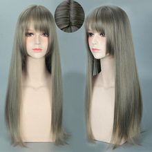Круглая воздушная челка оригинальная Лолита Granny серый градиент Cos парик Хэллоуин модный парик