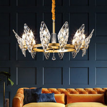 Postmodern Light Crystal Gold Chandelier Living Room Bedroom Hotel Villa Creative Luxury Glass Crown Shape
