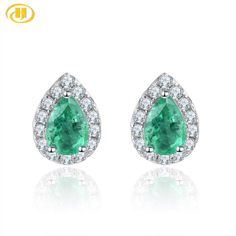 Hutang naturel émeraude argent boucles d'oreilles, 925 argent Sterling pierres précieuses Fine bijoux élégants pour les femmes, nouveauté de noël