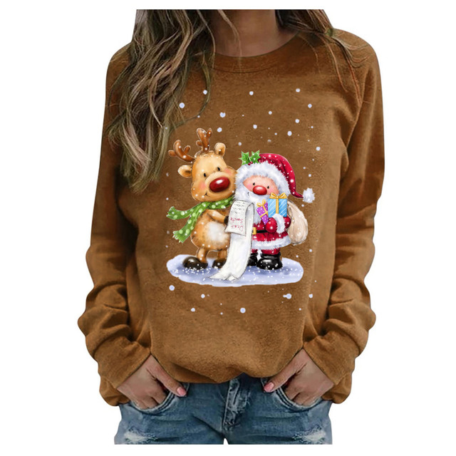 #2020 Fashion Christmas Women's Sweaters Christmas Print Long-sleeved Sweaters Casual Top Loose Sweaters Pullover Female свитер 4