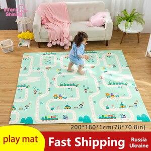 Image 1 - 180X200CMベビーマット 1 センチメートル厚さ漫画xpe子供プレイマット折りたたみアンチスキッドカーペット子供ゲームマット