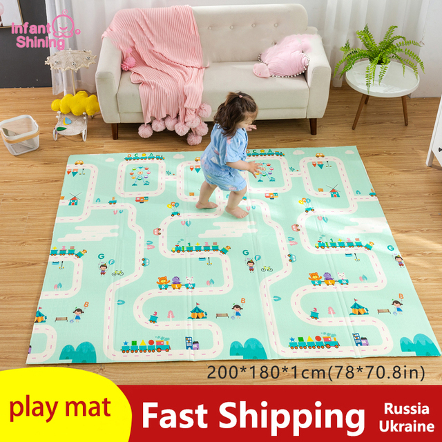 180X200CMベビーマット 1 センチメートル厚さ漫画xpe子供プレイマット折りたたみアンチスキッドカーペット子供ゲームマット