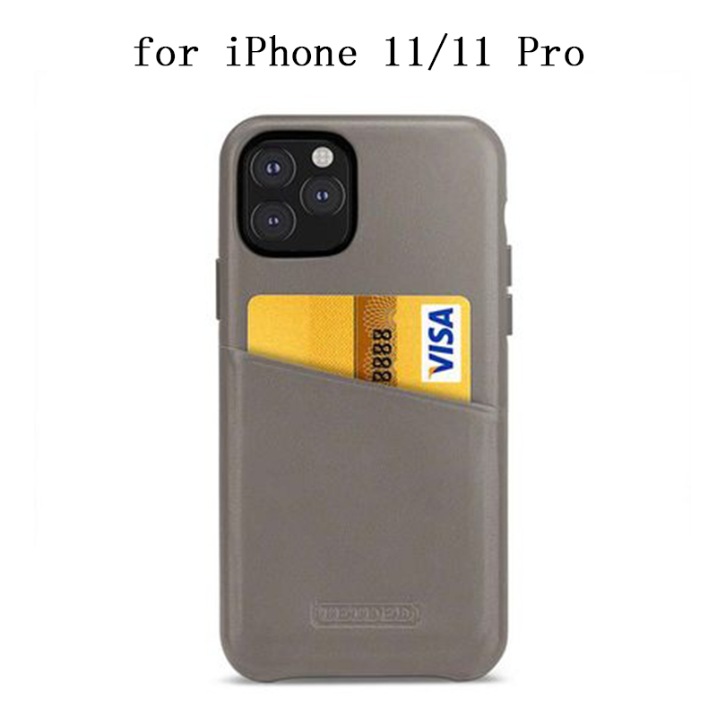 Luxury Genuine Leather Back Case for iPhone 11 Pro Max Case Ultra-thin Protective Skin for iPhone 11/11Pro Fundas with Card Slot