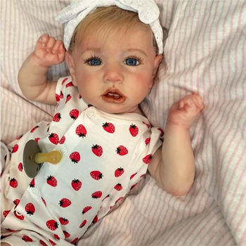NEW Realistic 22''Mia Reborn Baby Doll With Crooked Mouth Lifelike Adorable Baby Reborn Doll Full Silicone Body Bonecas Toy Doll 17 inch lifelike reborn lovely baby doll laugh soft realistic reborn baby playing toys for kids christmas gifts bonecas