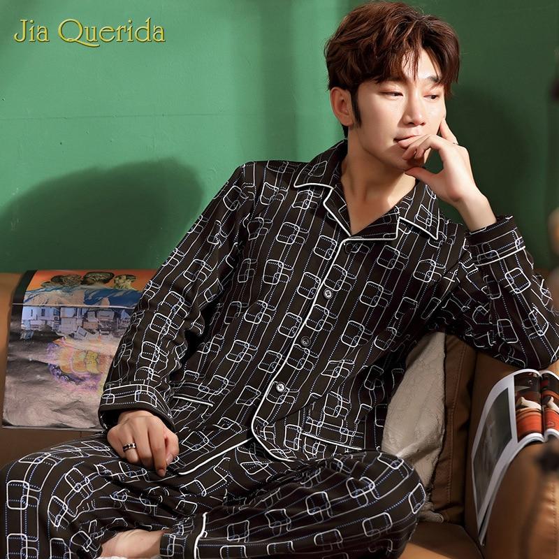 Print Pyjamas Sets For Men Sleepwear Men's Pure Cotton Cardigan Lapel Plaid Suit Youth Wear Casual Mens Fall/winter Home Clothes